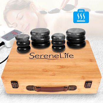 SereneLife PSLMSGST65 Hot Stone Massage Therapy System Kit with Travel Case Serenelife