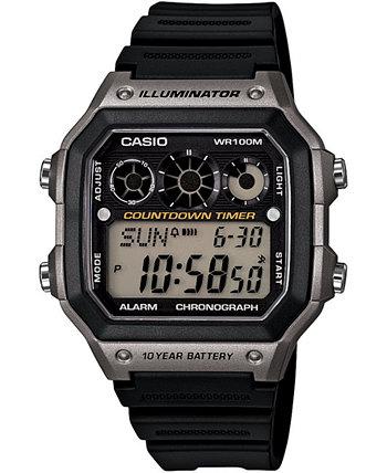 Мужские цифровые часы с черным полимерным ремешком, 42,1 мм Casio