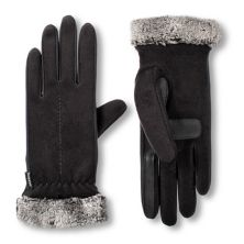 Women's isotoner SmartDRI Lined Stretch Fleece Gloves with Faux Fur Cuff ISOTONER