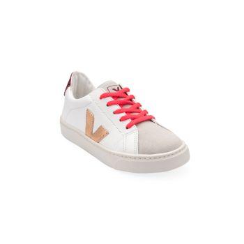 Детские кожаные кроссовки с V-образным логотипом VEJA