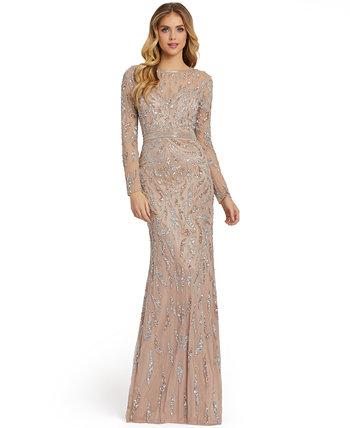 Платье с длинными рукавами и пайетками MAC DUGGAL