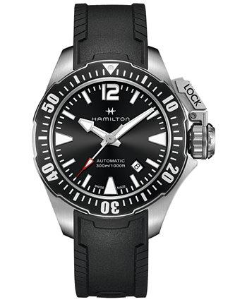 Мужские швейцарские автоматические часы цвета хаки Frogman с черным резиновым ремешком, 42 мм Hamilton