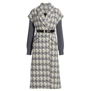 Пальто с узором «гусиные лапки» из смесовой шерсти Melissa на рукавах в рубчик Cinq a Sept