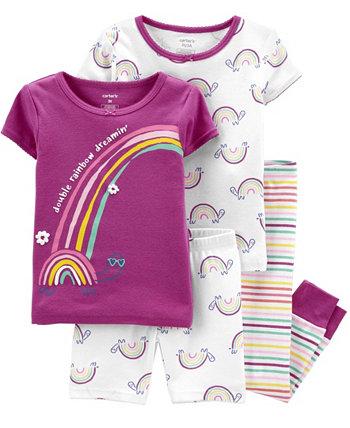 Toddler Girls Rainbow Snug Fit Pajama, 4 Piece Set Carter's