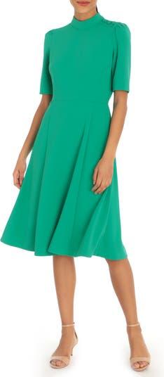 Mock Neck Button Shoulder Fit & Flare Dress Donna Morgan