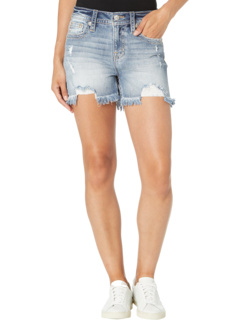 Embroidered High-Rise Shorts in Light Blue Miss Me