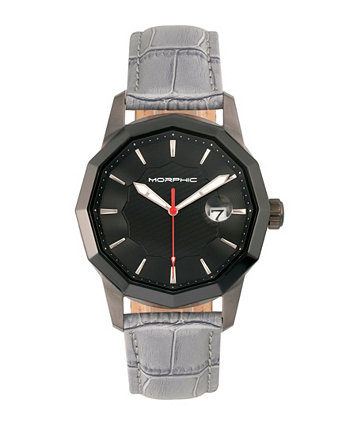 Серия M56, черный корпус, часы с серым кожаным ремешком и датой, 42 мм Morphic