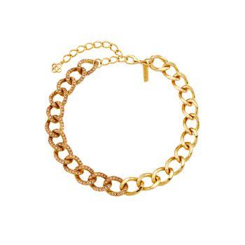 Покрытие из 18-каратного золота & amp; Кристалл Ожерелье-Цепочка Oscar de la Renta