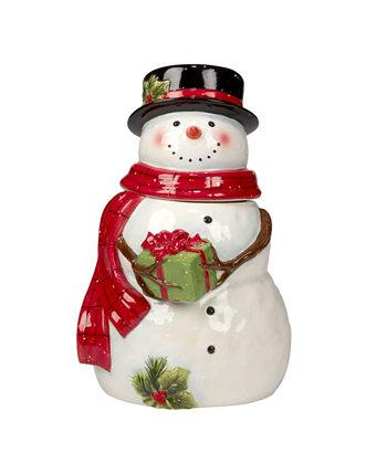 Snowman's Farmhouse 3D Cookie Jar Santa Certified International