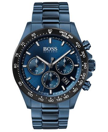 Мужской хронограф Hero Blue Браслет из нержавеющей стали с ионным покрытием Часы 43мм HUGO BOSS