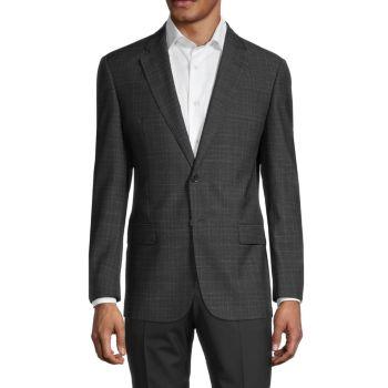 Спортивная куртка стандартного кроя из натуральной шерсти в клетку Armani Collezioni