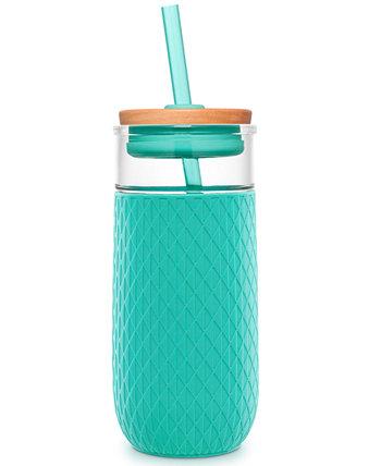Девон 18-унций. Стеклянный стакан с силиконовой защитой и соломкой Ello