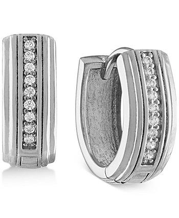 Серьги-кольца с бриллиантами (1/10 карата) из стерлингового серебра, созданные для Macy's Esquire Men's Jewelry
