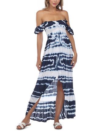 Пляжное платье с открытыми плечами и принтом тай-дай Raviya