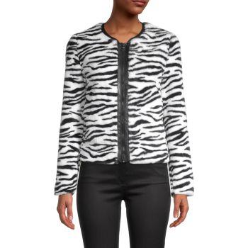 Куртка из искусственного меха с принтом зебры Bailey 44