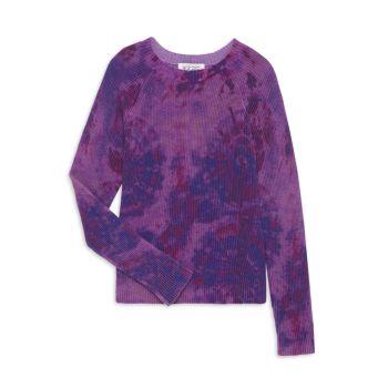 Хлопковый свитер с принтом тай-дай для маленьких девочек и девочек Autumn Cashmere