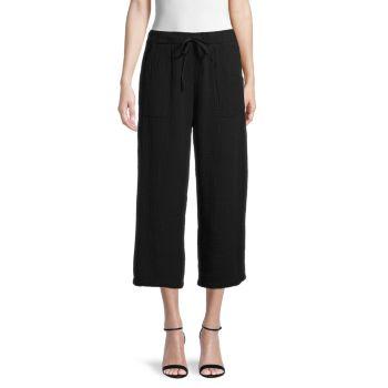 Укороченные льняные марлевые брюки Pure Navy