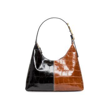 Кожаная сумка-хобо Scotty с тиснением под кожу крокодила STAUD