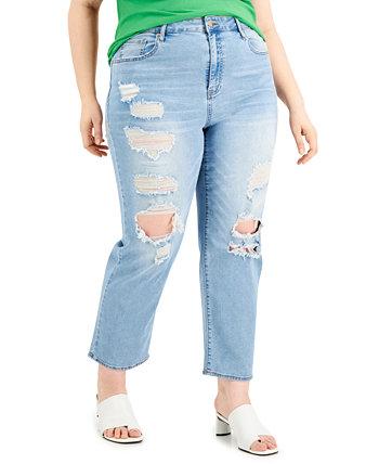 Модные рваные прямые джинсы больших размеров Lorena с прямыми штанинами Dollhouse
