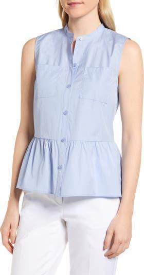 Блуза без рукавов из хлопка с баской Nordstrom Signature