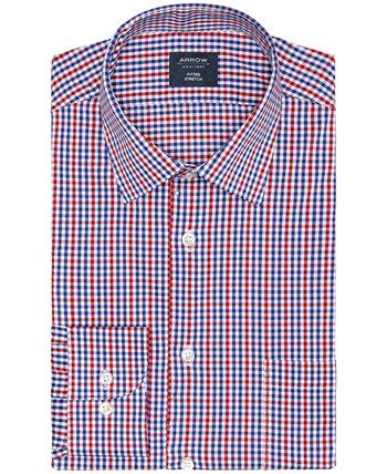 Мужская приталенная классическая рубашка в клетку стрейч в клетку Arrow