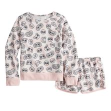 Girls 7-18 SO® French Terry Lounge Top & Shorts Pajama Set in Regular & Plus Size SO
