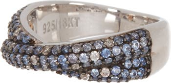 Серебряное кольцо с синим сапфиром, крест-накрест Suzy Levian