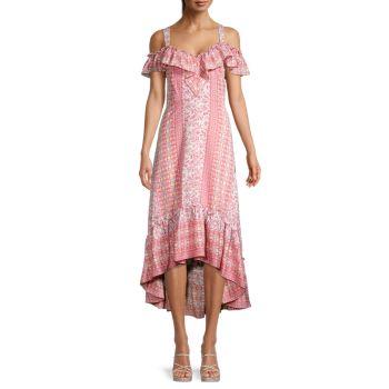 Floral Ruffle High-Low Dress BCBGMAXAZRIA