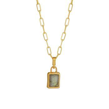 Фирменный багет с золотым покрытием 22K & amp; Ожерелье с подвеской из лабрадорита DEAN DAVIDSON
