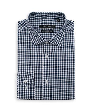 Мужская приталенная, не утюг, влагоотводящая классическая рубашка - микро-принт в клетку Tahari