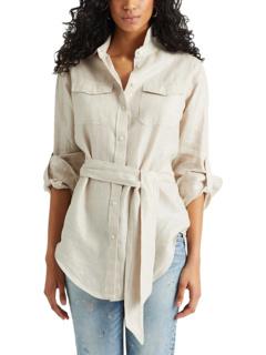 Рубашка из льняной ткани с эффектом металлик Ralph Lauren