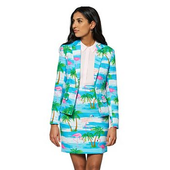 Женский костюм с курткой и юбкой OppoSuits с тропическим фламинго OppoSuits