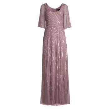 Платье с бисером и развевающимися рукавами Aidan Mattox