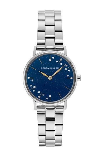 Женские часы из нержавеющей стали с минеральной кристаллизованной структурой синего цвета, 32 мм BCBGMAXAZRIA