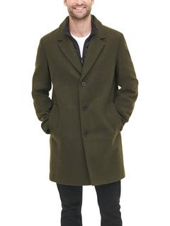 Пальто из смесовой шерсти со съемным стеганым нагрудником DKNY