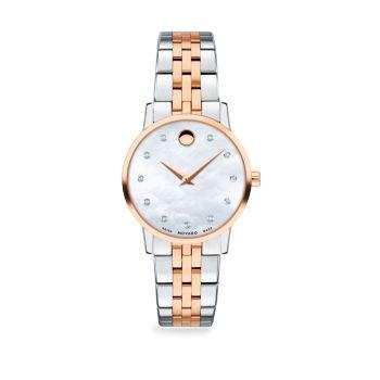 Перламутр, покрытие из розового золота, нержавеющая сталь & amp; Часы-браслет с бриллиантовой отделкой Movado