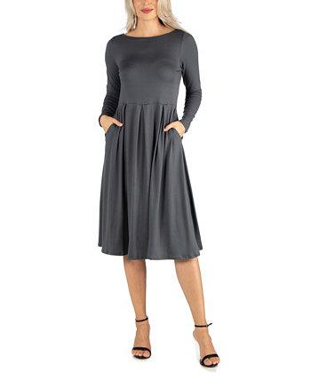 Женское платье миди длины и расклешенное карманное платье 24seven Comfort Apparel