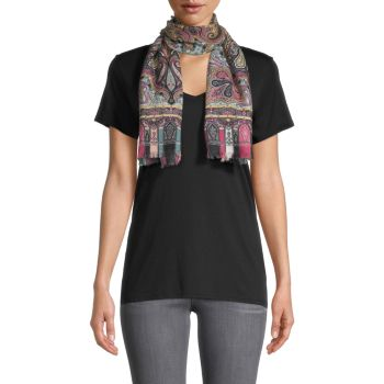 Calcutta Paisley Swirl Cashmere & amp; Шелковый шарф Etro