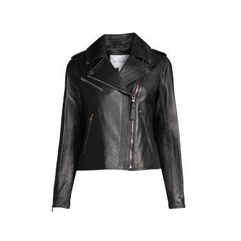 Асимметричная кожаная мото куртка DEREK LAM
