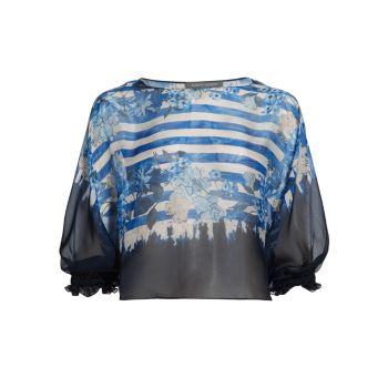 Полосы & amp; Шифоновая блуза с цветочным принтом Alberta Ferretti