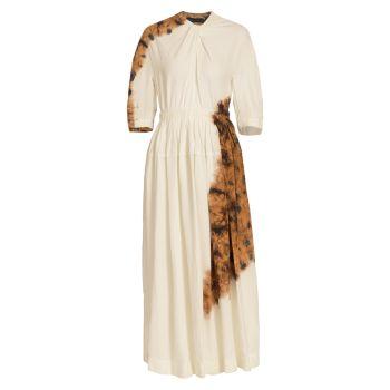 Макси-платье из смесового льна с принтом тай-дай Proenza Schouler