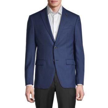 Bleecker Regular-Fit Bird's-Eye Wool & Silk Jacket John Varvatos Star U.S.A.