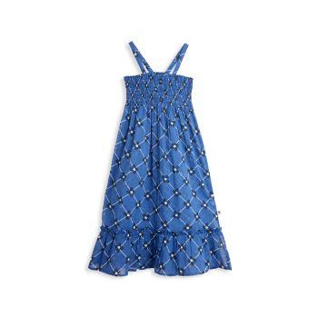 Маленькая девочка & amp; Цветочный & amp; Платье в клетку со сборками Mini rodini