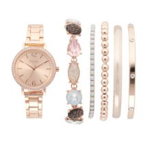 Женские часы и браслет Folio с блестками цвета розового золота Folio