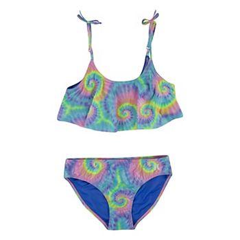 Girls 7-16 Hurley Flounce Tie Dye Bikini & Bottoms Swimsuit Set Hurley