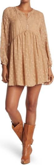 Textured Square Design Mini Dress Mustard Seed