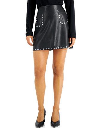 Мини-юбка из искусственной кожи с заклепками, созданная для Macy's Bar III