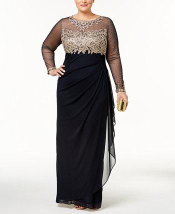 """Платье больших размеров с вышивкой """"иллюзия"""" XSCAPE"""