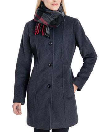 Однобортное пальто с шарфом London Fog