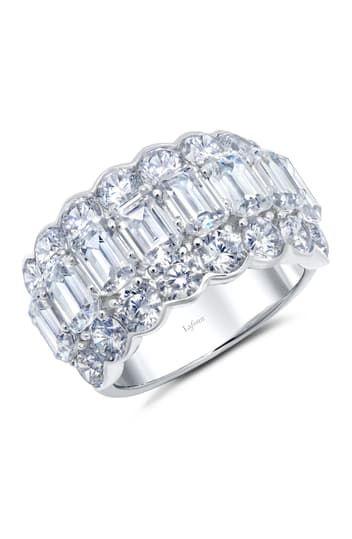 Сигарное кольцо из стерлингового серебра с платиновым покрытием и имитацией бриллианта огранки изумруд LaFonn